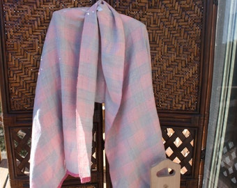 Big Gray & Pink Alpaca Shawl
