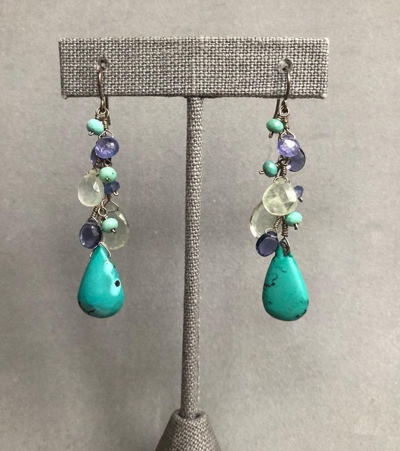Mixed gemstone cascaded earrings
