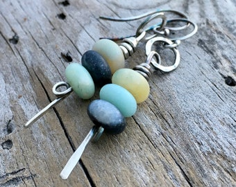 Sterling Silver Amazonite Earrings Handmade by Wild Prairie Silver Jewelry