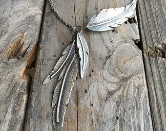 Sterling Silver Feather Necklace Handmade By Wild Prairie Silver Jewelry