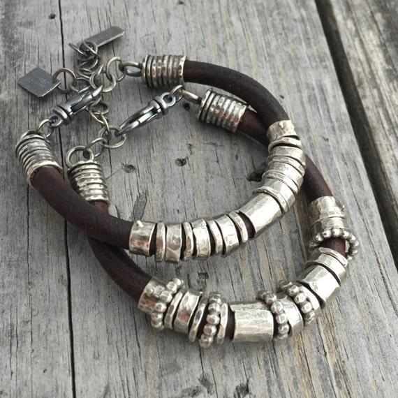 Leather Bracelet Sterling Silver Handmade Bracelet Wild Etsy