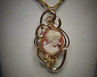 Man Made Red Cameo Designer Pendant in 14 kt Gold Filled Wire