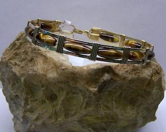 Tiger Eye Bracelet in 14 Kt Gold Filled Wire
