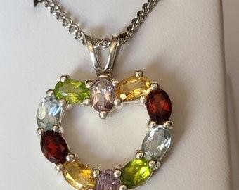 Gemstone Heart in Sterling Silver