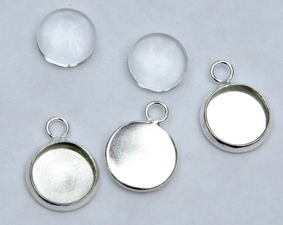 """1/"""" Silver Plated Round Bezel w//Domed Glass Crystal For Jewelry 10 Pendant Trays"""
