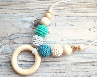 Turquoise and grey - nursing necklace breastfeeding teething toy - with teething ring