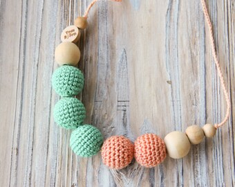 Mint and Salmon  - nursing necklace breastfeeding statement jewelry strand necklace - rusteam ohtteam - brown orange grey