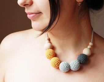 Winter months  - nursing necklace breastfeeding statement jewelry strand necklace - rusteam ohtteam - charcoal grey mustard yellow black