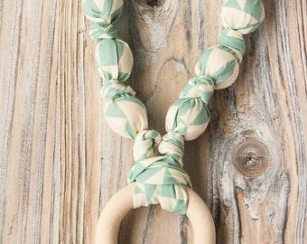 Mint geometry organic cotton nursing / babywearing necklace - wooden beads, ecological teething ring and organic cotton - Free Shipping