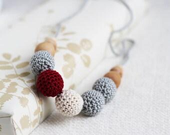 Scandinavian winter - grey, white and burgundy necklace  - nursing necklace breastfeeding teething toy statement jewelry - rusteam ohtteam