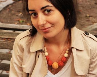 Pumpkin and mustard  - nursing necklace breastfeeding statement jewelry strand necklace - rusteam ohtteam - brown orange grey