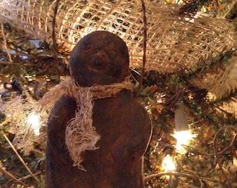 Blackened Beeswax Jolly Snowman Ornie  #417