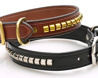 Leather Dog Collar / Brown Leather Devon Collar with Solid Brass Hardware / Amberhill / Made in America