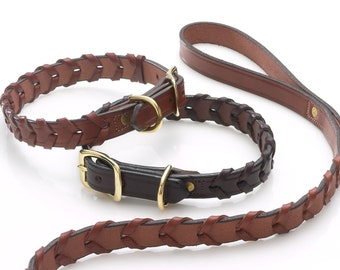 Leather Sporting Collar / Laced Leather Collar / Equestrian Inspired and constructed using beautiful bridle leather / Made in the USA