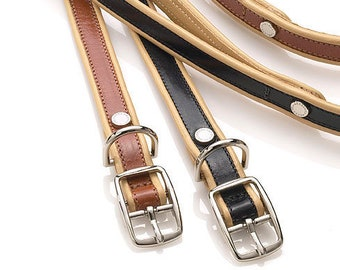 Italian Leather Dog Collar / Tan with Cream Piping / Designer Dog Collar by Amberhill / Made in America