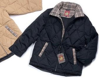 Women's Down Coat Black / Baker Blanket by Amberhill / White Goose Down Coat / Baker Tartan Trim / Beautifully Constructed Winter Coat
