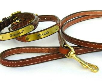 Custom Leather ( Brass Plate ) Dog Collars