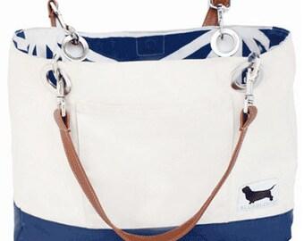 Cotton Tote Bag . . . adorable & reversible cotton tote w/ interior and exterior pocket
