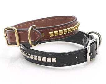 Black Leather Dog Collar / Devon Collar by Amberhill / Made in America / Using the finest bridle leathers / Equestrian Grade Hardware