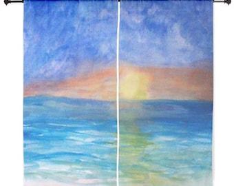 Ocean Sunset Beach Sheer Curtains