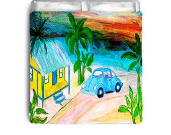 Blue VW Bug Beach House Comforters or duvet cover from my art a790bcfcb