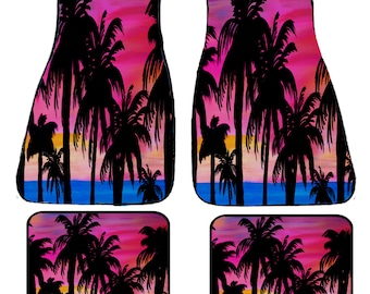 Pink Sunset Palm Trees Art Car Floor Mats from my art