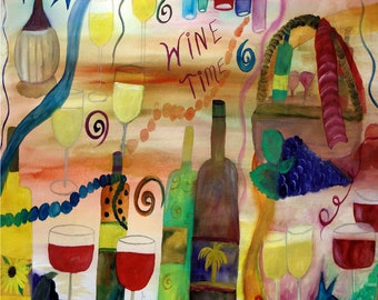 Wine Time wine bar placemats from my original art