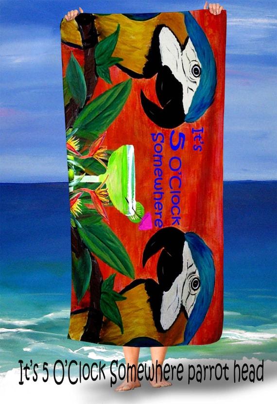 warm sherpa or throw blanket from my original art Parrot heads blanket It/'s 5 O/'Clock Somewhere margarita tropical bird beach  picnic