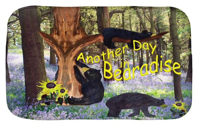 Another day in bearadise black bear kitchen mat or bathmat and shower  curtain from my art