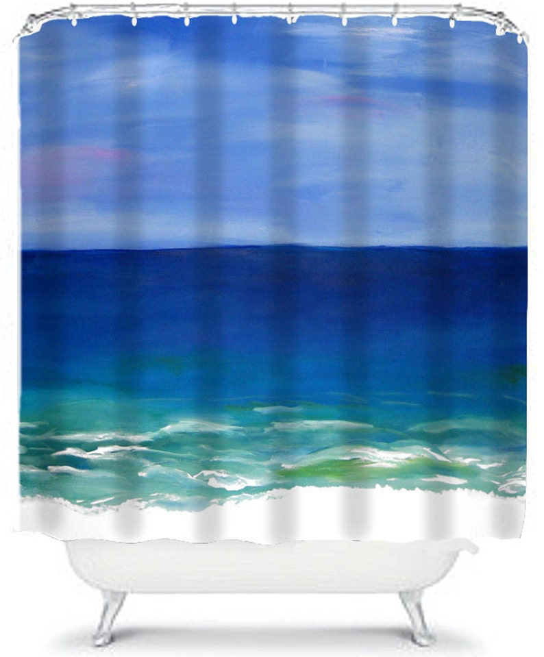 Coastal home beautiful beach bathroom shower curtains and bath mat from my art,sold separately.