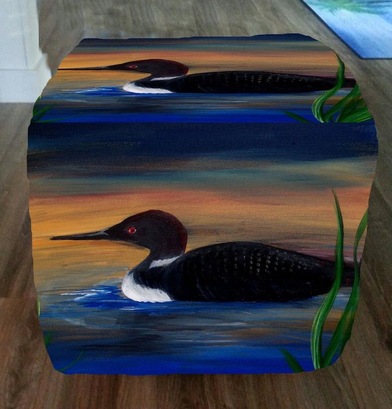 Loon lake bird cube ottoman from my art