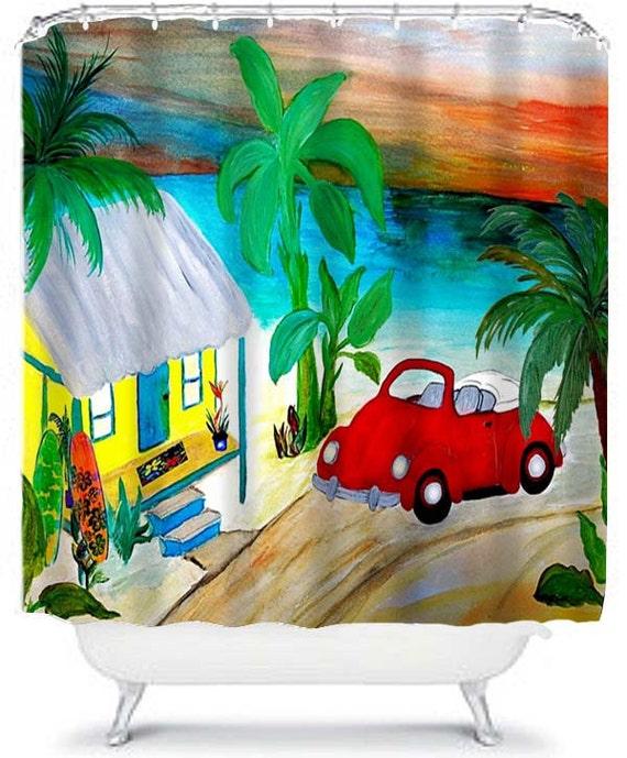 Shower Curtain Beach House VW Convertible Red Bug Art