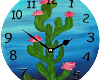 "Cactus flowers 10.75"" round wall clock from my art"