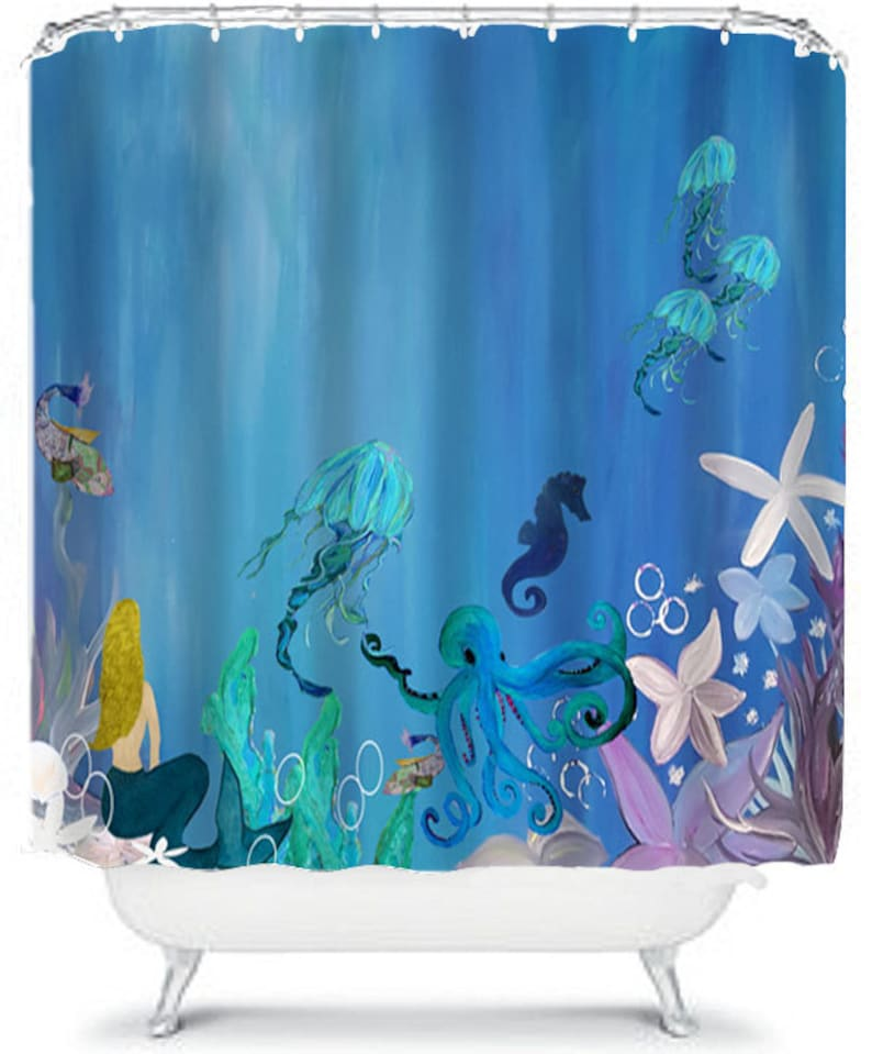 Mermaid Jellyfish And Octopus Under The Sea Shower Curtain