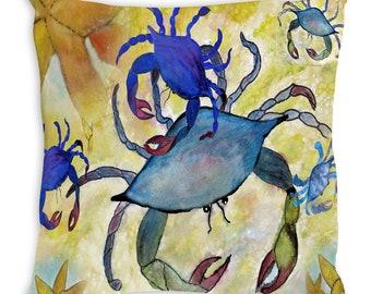 Sandy crab beach throw pillow from my art