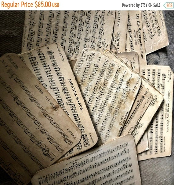SALE 50 OFF Vintage Song Cards, vintage Marches, Waltz, Military, soldiers marching songs