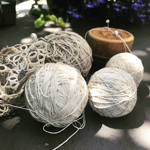Antique cotton and linen string, flax spools