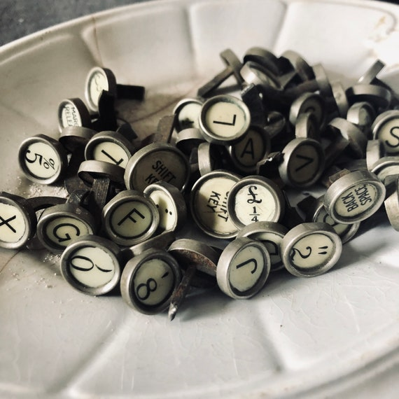 Antique typewriter keys 50 including alphabet and numbers