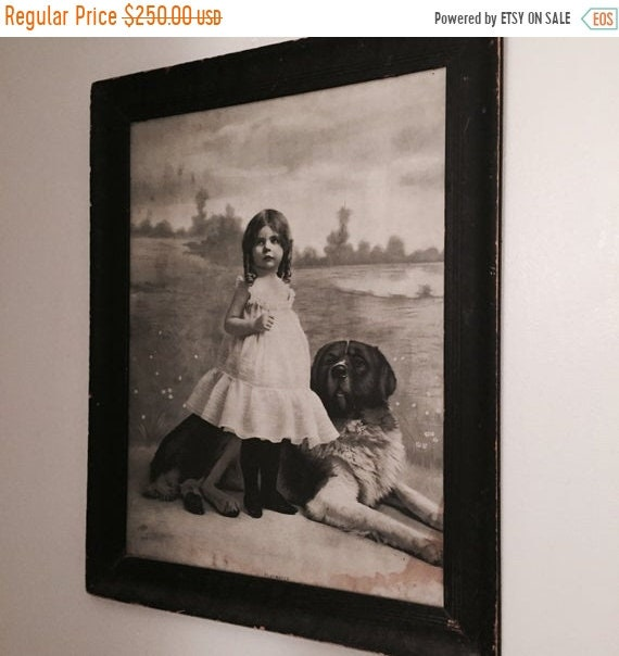 SALE 50 OFF Antique Large Framed in Oak Print of a child and her Dog, Play Mates