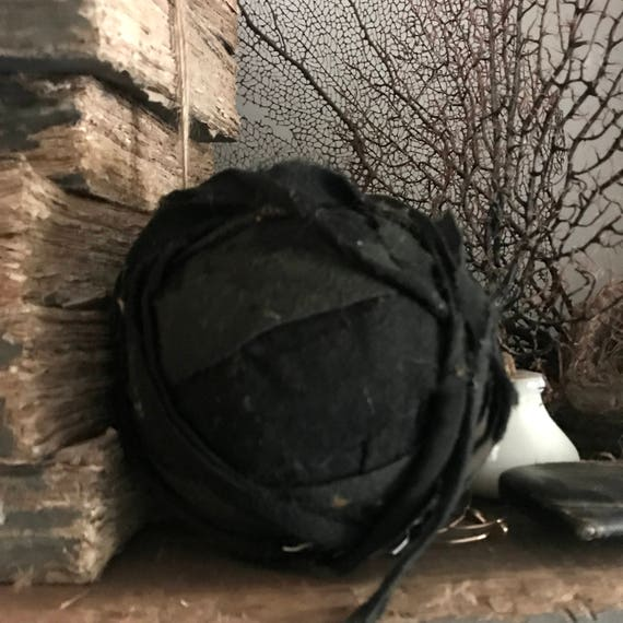 Rag Ball Antique, real, authentic,  1 Black medium Size