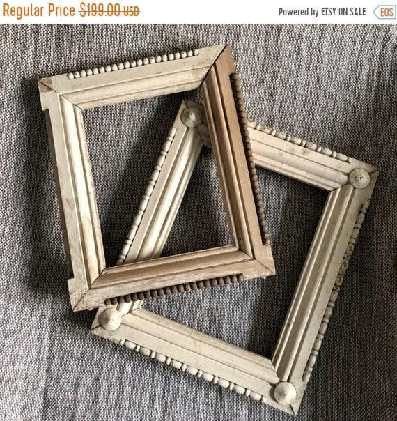 SALE 50 OFF Antique Picture Frames, Folk Art Frams, Solid Wood Antique frame,shabby Chic. Jeanne d'arc, Vintage by Nina