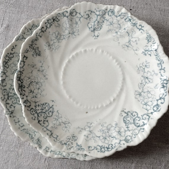 Antique Dishes. French, teal blue,
