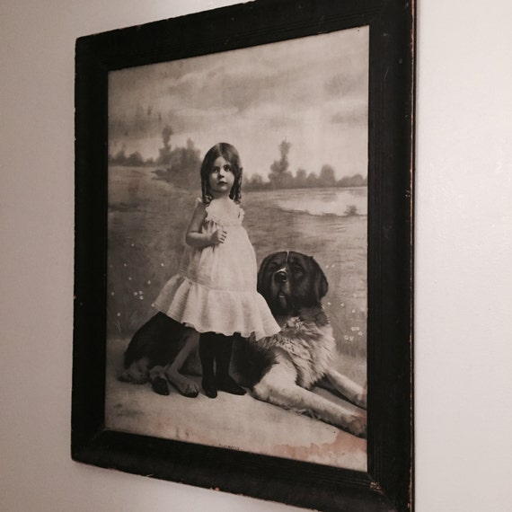 Antique Large Framed in Oak Print of a child and her Dog, Play Mates