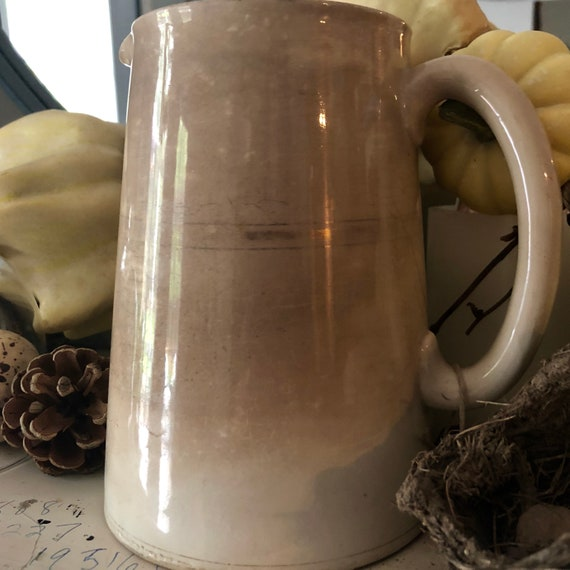 White Ironstone pitcher, Antique, FREE SHIP to North America, with crackle and staining