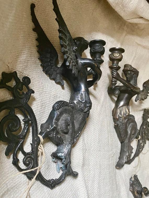 Siren Sconces,A PAIR Melusine, Bronze statues, Mermaids, witches,Antique Sconces