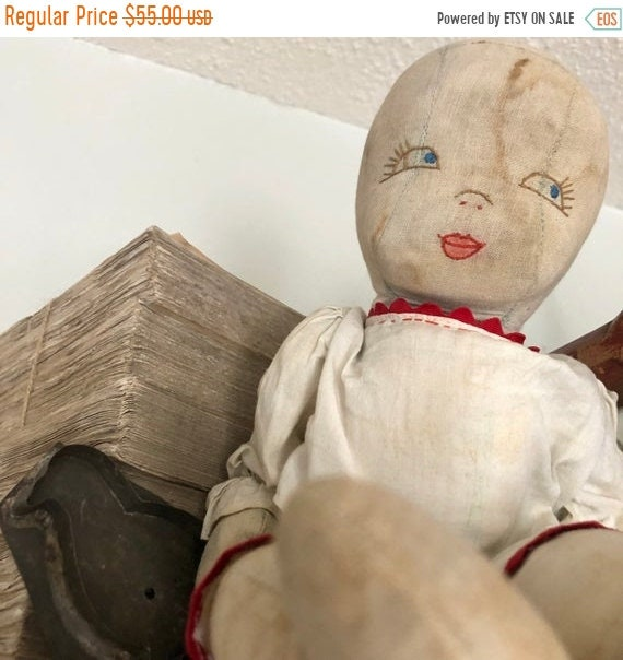 SALE 50 OFF Folk Art doll, Antique handmade Doll