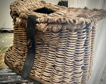 Antique french Creel, Cottage Antique, basket, country home, French,