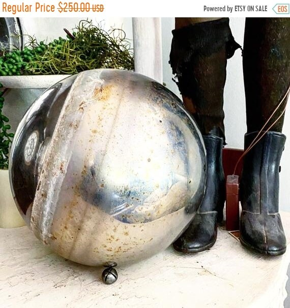 Sale 50% Antique Gazing Ball, RESERVED witches Ball, Pond Orb, yard Art, Jeanne D'Arc living, shabby chic, French cottage.