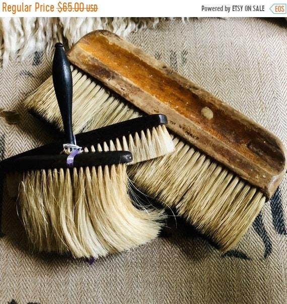 SALE 50 OFF Antique Brushes 3 with real hair, nice patina, wonderful craftsmenship,antique, vintage