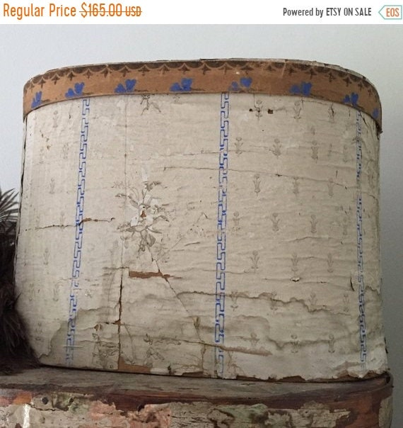 SALE LAST CHANCE Antique Wall Paper Box, 1800s the most beautiful wall paper box